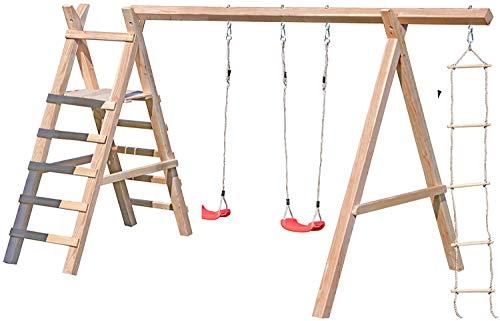 Gartenpirat Schaukelgestell Holz Lärche Typ 5.2 mit Strickleiter und Podest für Rutsche TÜV