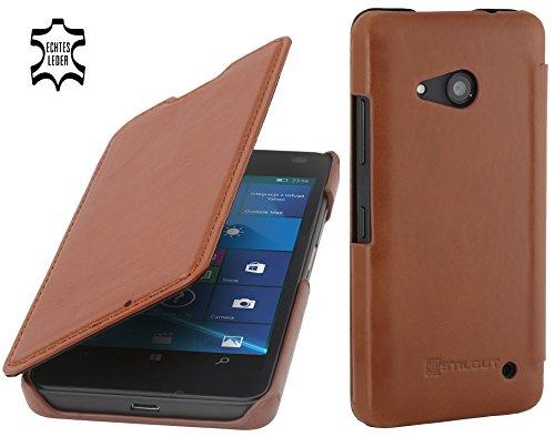 StilGut Book Type Case ohne Clip, Hülle aus Leder für Microsoft Lumia 550, Cognac