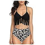 Topkal - Traje de baño para mujer, sexy, estilo bandeau con push up, acolchado, bikini de dos piezas, cintura alta, triángulo, bikini, traje de baño Negro  S