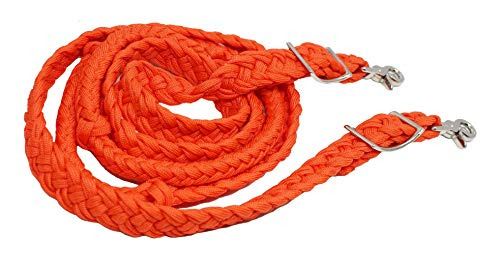 CHALLENGER Roping Knotted Horse Tack Western Barrel Reins Nylon Braided Orange 60755