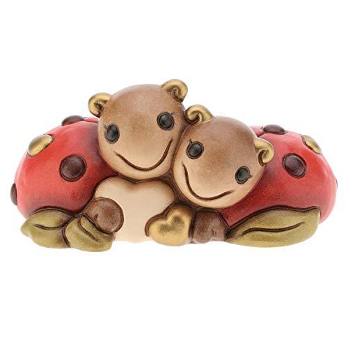 THUN ® - Coppia coccinelle mini con cuore - Ceramica - h 6 cm - Linea I Classici