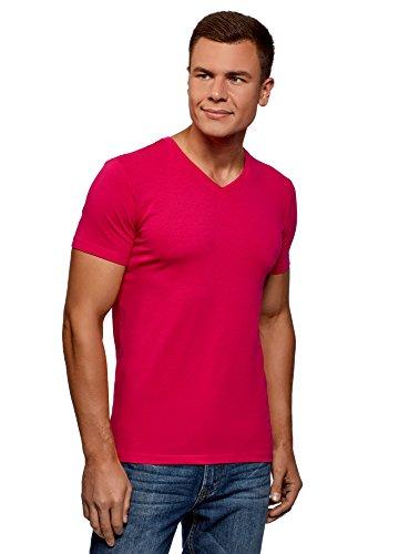oodji Ultra Hombre Camiseta Básica con Escote en V, Rosa, XXL