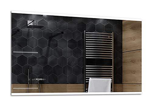 Alasta® | Lichtspiegel mit LED Beleuchtung | Viele Größen | Wetterstation LED Uhr zu Wähle | Wandspiegel Badezimmerspiegel Spiegelwand Spiegel LED Badspiegel | Brasil