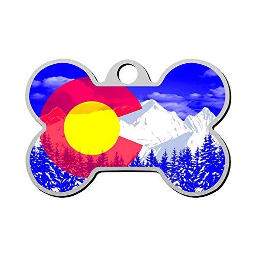Custom Cool Colorado Flag Pet ID Tag Bone Shape Dog Tags & Cat Tags Identity Tags