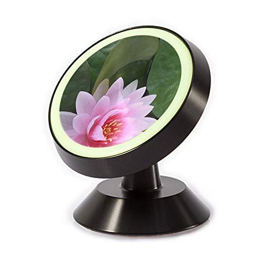 VEELFF Soporte magnético para teléfono de coche, con oxidación de aleación de aluminio + anillo de silicona luminoso, patrón de flor de loto.