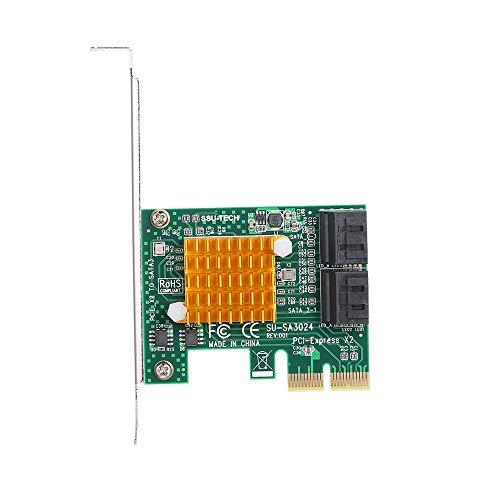 Walmeck PCI-E X2 tot 4-poorts SATA3-kaart met 6 Gbit/s Express-Kaart, SSD Controller-adapter met driver-CD voor grote en kleine PC-behuizing