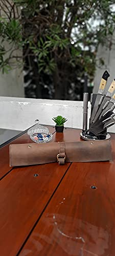KB006-Antique - Bolsa de viaje para cuchillos de chef (cuero auténtico)