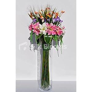 Silk Blooms Ltd Large Tropical Pink Amaryllis, Purple Iris, Orange Calla Lily and Bird of Paradise Floral Display