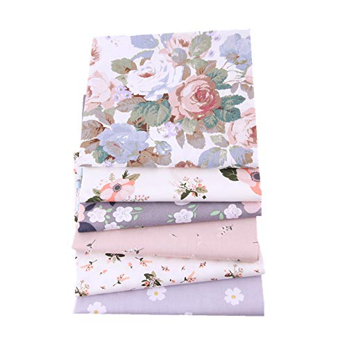 6pcs 100% Cotton Craft Fabric Bundle Patchwork, 50 x 40cm Quilting Sewing Patchwork Beautiful Pattern Cloths for DIY Scrapbooking Artcraft (Dark Pink)