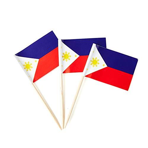 Mflagperft Philippines Flag Filipino Small Toothpick Mini Stick Flags Decorations (100 Pack)