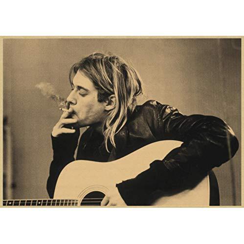 WYBFLF Póster De Lienzo Kurt Donald Cobain Nirvana Cow Cafe Bar Cartel Retro Habitación Decoración del Hogar Pintura Cuadro De Pared 40 * 60 Cm Sin Marco