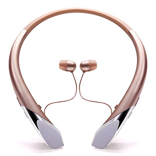 Bluetooth Headphones, Wireless Neckband Sports Headset with Retractable Earbuds Noise Canceling Stereo Sports Earphones with Call Vibrate [2021 Upgraded] (Rose Gold)