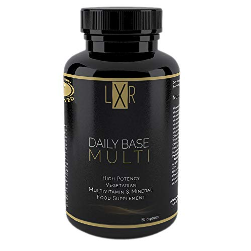 LXR Multivitamin and Minerals for Men and Women - 90 Vegetarian Capsules - High Strength Supplements for Adults - Vitamin (D3, B12, E, A, K2) & Minerals (Magnesium, Zinc, Calcium)