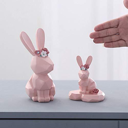Mianjumj beeldhouwtje, kleine sculptuur, 2 stuks, de Amerikaanse geometrische roze konijntjes dierenbeeldje, sieraden, decoratie voor in de woonkamer, kantoor, tv-kast, kinderkamer, kleine meubels