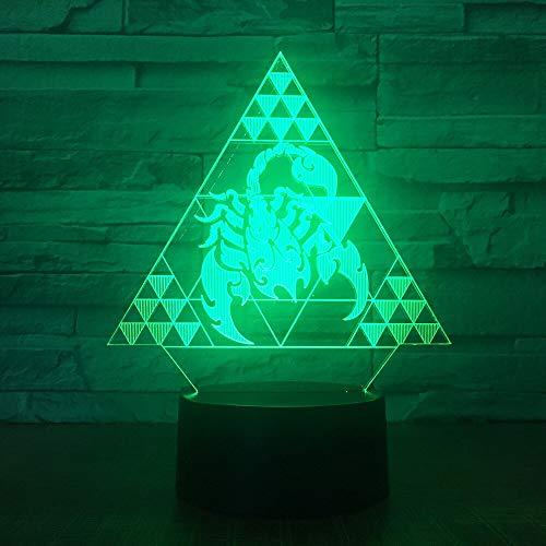 jiushixw 3D acryl nachtlampje met afstandsbediening, kleur tafellamp, kubicmeter, datender, groot bedlampje