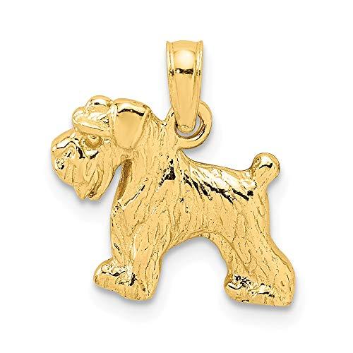 Anhänger für Damen, 10 Karat Gelbgold, Schnauzer-Hund