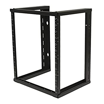 NavePoint 12U Wall Mount Open Frame 19 Inch Server Equipment Rack Threaded 16 inch Depth Black