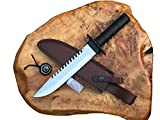 J&S Urban Expedition 14' Hunting Knife with Sheath | Fixed Blade Outdoor Knife | Brown Leather Sheath | Steel Handle | Camping Outdoor Incudes Survival Kit | Collectible
