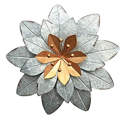 GIFTME 5 Galvanized Metal Layered Flower Outdoor Wall Art Decor Silver Home Accents Decor11.5x1.5 Inch