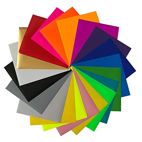 "Magical 12""x10"" HTV Smooth Heat Transfer Vinyl, 20 Color Bundle Pack of Multicolour, Iron On T-Shirt Transfer Sheets - Best HTV for Silhouette Cameo,Heat Press,Bonus 1 Weeding Tweezers Teflon."