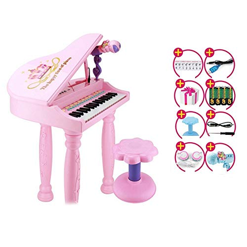 Learn More About Electronic Piano Toy, 37-key Electronic Keyboard With Microphone Headset Stool, Chi...