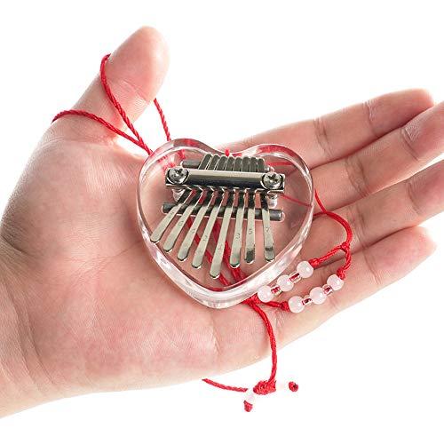 Yahpetes Thumb Piano Mini Kalimba 8 key Crystal Thumb Piano Heart Shape...