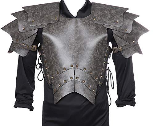 GZHOUSE - Disfraz de guerrero medieval, armadura de cosplay ajustable de piel sintética con hombros al hombro, gladiador espartano para Halloween, carnaval, fiesta de Mardi Gras