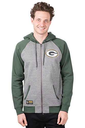 Ultra Game NFL Green Bay Packers Mens Full Zip Soft Fleece Raglan Hoodie, Team Color, X-Large