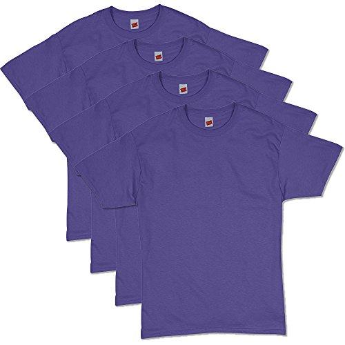 Hanes Men's ComfortSoft Short Sleeve T-Shirt (4 Pack ),purple,Large