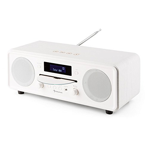 auna Melodia Digitalradio DAB+ / UKW Radiotuner Radiowecker (Radio, 20 Senderspeicher, MP3-fähiger CD-Player, Bluetooth, AUX, Dual Alarm & Snooze, LCD Display, Fernbedienung) antikweiß