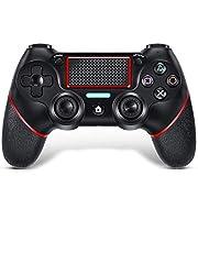 TUTUO Mando para PS4, con Touch Pad y Conector de Audio Doble vibración Antideslizante Wireless Bluetooth Gamepad Controlador Inalámbrico, Mando inalámbrico para PS4/Pro/Slim/PC(Rojo)