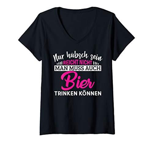 Damen Nur hübsch sein reicht nicht man muss auch bier trinken pink T-Shirt mit V-Ausschnitt