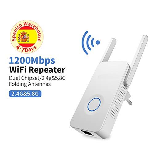 WUBAILI Potente Extensor de Banda Dual de 1200Mbps WiFi Amplificador de señal de Internet Repetidor inalámbrico 2.4GHz 5GHz Antena de extensión de Alcance de Wi-Fi
