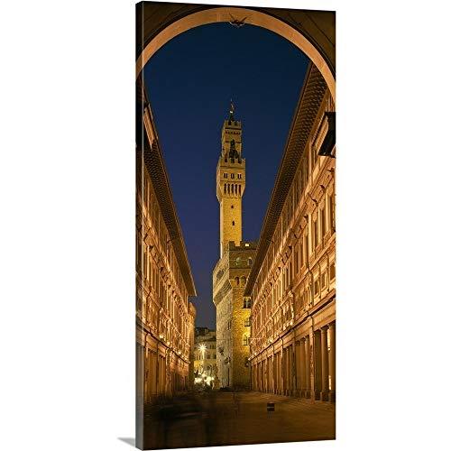 "GREATBIGCANVAS Evening Palazzo Vecchio Uffizi Gallery Florence Italy Canvas Wall Art Print, 12""x24""x1.5"""