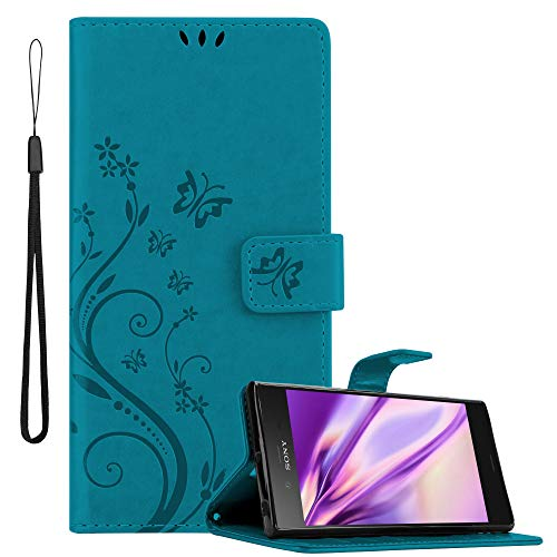 Cadorabo Hülle für Sony Xperia XZ1 in FLORAL BLAU Handyhülle im Blumen Design mit Magnetverschluss, Standfunktion & 3 Kartenfächern Hülle Cover Schutzhülle Etui Tasche