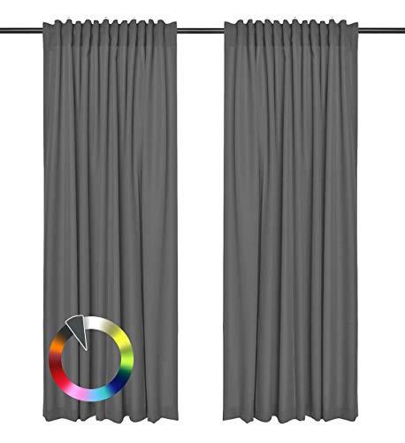 Rollmayer Vorhänge mit Tunnelband Kollektion Vivid (Grafit 33, 135x240 cm - BxH) Blickdicht Uni einfarbig Gardinen Schal für Schlafzimmer Kinderzimmer Wohnzimmer