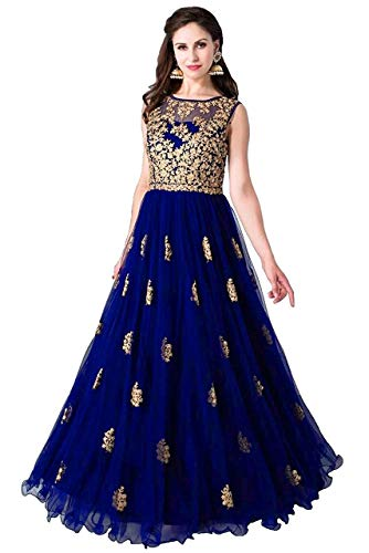 Varudi Fashion Multi Color Heavy Soft Net Fabric Embroidery Work Round Neck Sleevesless Long Semi Sticthed Gown For Women (royal blue)