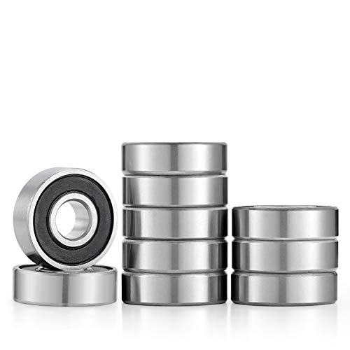 Donepart R6 2RS Bearings 3/8 ID x 7/8 OD x 9/32 Width Small Bearings Pre-Lubricated and Double Rubber Sealed Bearings (10 Pack)