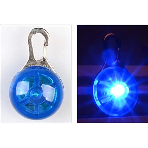 Hemore Colgante Circular para Mascota, práctico Collar de Perro, luz LED Multiusos, Llavero de Seguridad para Perro, Azul