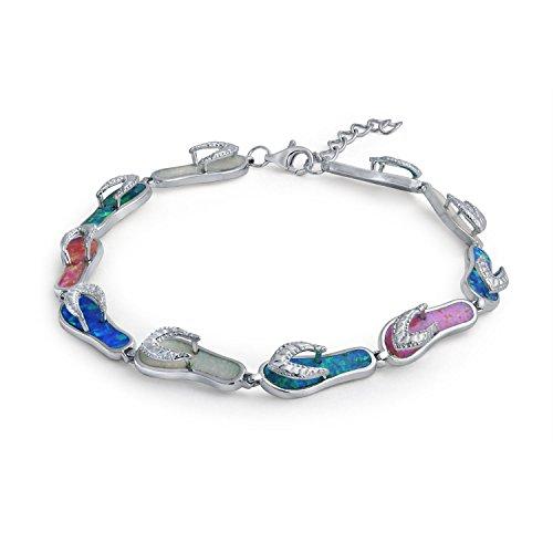 Tropische Urlaub Strand Multi Farbe Flip Flop Sandale Erstellt Opal Armband Für Frauen 925 Sterling Silber