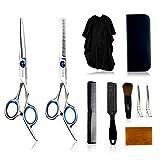 Juego de tijeras de corte de pelo 10 piezas profesionales de acero inoxidable tijeras de peluquería kits en estuche de cuero con adelgazamiento..