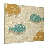 Pintura 40,6 x 50,8 cm peces y olas acuario marino océano temático Pesca Decoración Es Panorámica Lienzo Pared Art