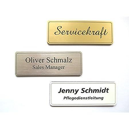 1 St/ück Aluminium Namensschild goldfarbig eloxiert aus Metall selbstbeschriftbar Namensschild f/ür Kleidung Selbstgestaltung Namensschildchen mit Nadel // Clip goldfar Gr/ö/ße 65x22 mm oder 72x32 mm Name Badge Nadel // Clipbefestigung