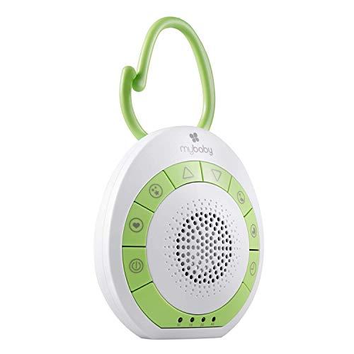 MyBaby SoundSpa Einschlafhilfe Baby - Sound machine, weißes Rauschen & beruhigende Klänge für Kinder & Erwachsene, White Noise Machine Baby mit Timerfunktion & Soundtherapie - Ideal zum Reisen