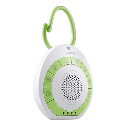 MyBaby SoundSpa für unterwegs mit beruhigenden Klängen, Einschlafhilfe für Babys und Kinder mit Schlafliedern & natürlichen Klängen wie Herztöne, weißes Rauschen, Meer zum Einschlafen, Timerfunktion