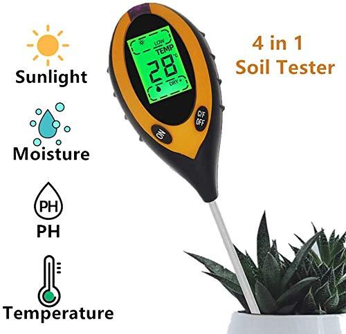 Pkfinrd Professionele bodem-pH-meter 4 in 1 bodemtemperatuur zonne-vochtigheidsmeter testapparaat voor tuinplanten bloemen LCD-display