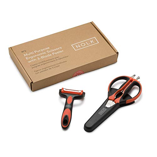 Nolk Large Handle Ergonomic Multi Purpose Universal Scissors with Protective Case (Large)