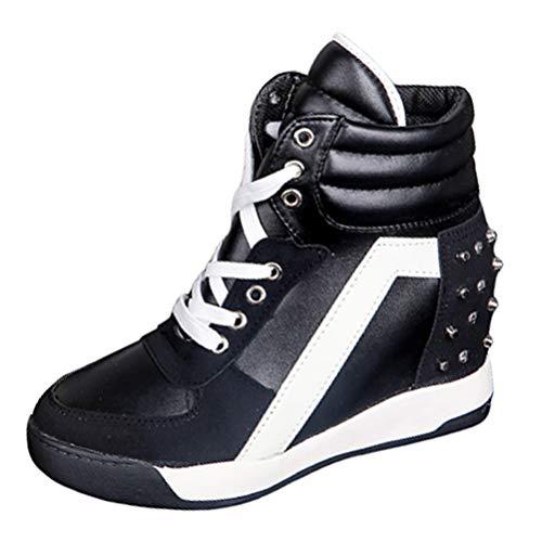 Zapatos de tacón Alto Oculto para Mujer Zapatos con Cordones Primavera Otoño Tacón de cuña Aumento de Altura Zapatillas de Deporte Casuales Zapatos
