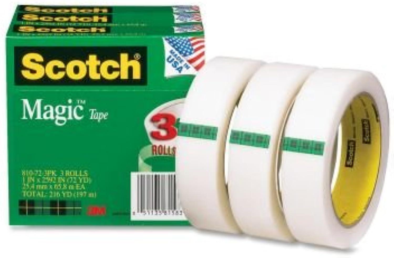 Scotch Magic Tape 1 inch x 2592 inch 3 inch Core 3 Pack