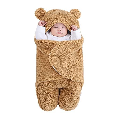 Manta de peluche para recién nacidos, niños y niñas, con capucha, forro polar, manta de recepción, invierno, gruesa, cálida, saco de dormir (caqui, 3-6 meses)